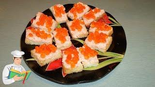 Мини бутерброды с красной икрой на сухариках рецепт