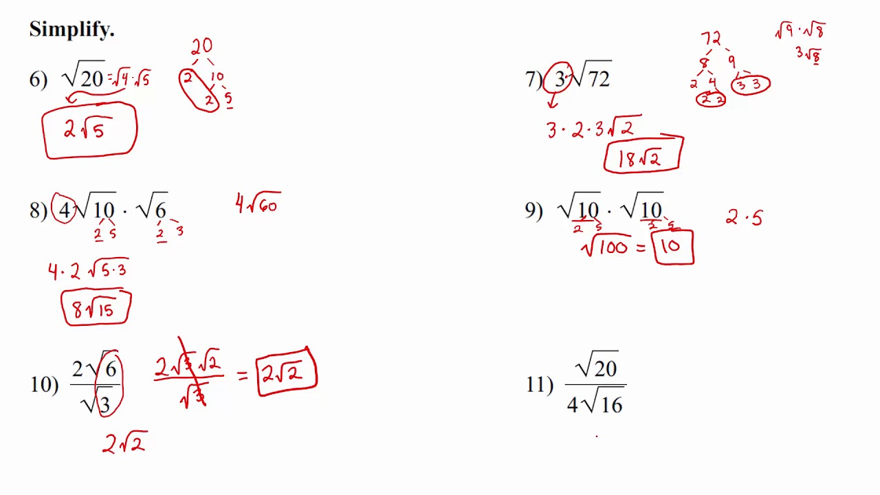 Algebra 1 - Quadratic Equations - Chapter 9 Review