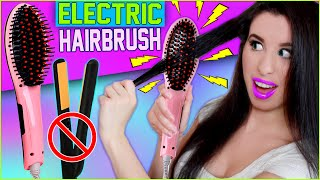 Hairbrush Straightener! | How To Straighten Your Hair With An ELECTRIC Hairbrush! | Before & After!
