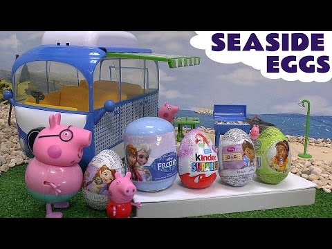 Peppa Pig Seaside Surprise Eggs Frozen Doc McStuffins Sofia The First Thomas and Friends Play Doh