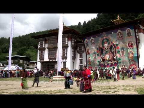 Prayer flags and Thangka at the magnificient Kurjey Temple at Bumthang, Bhutan