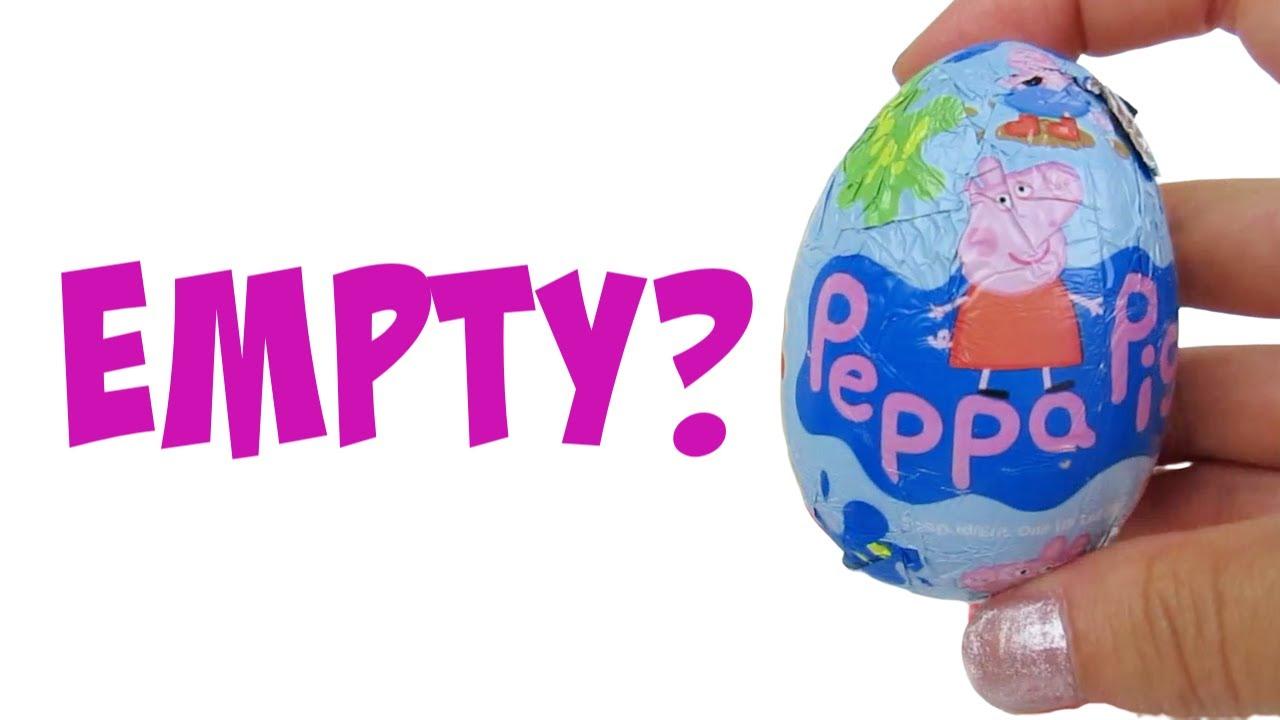 FULL box of Peppa Pig Empty Choco Eggs SURPRISE!...No music kids moving stuff clock background