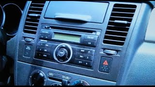 How to Nissan Versa Car Radio cd Stereo Removal 2007 - 2011replace Aux jack