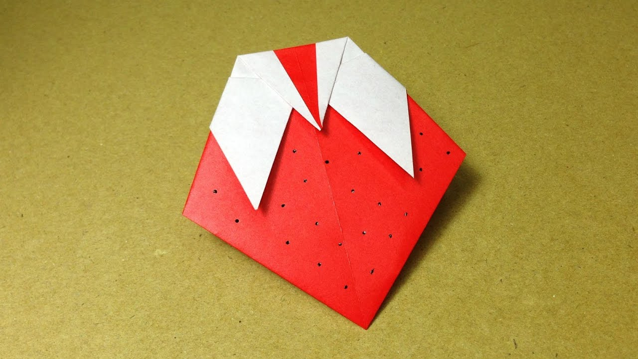 how to make a paper fruit origami strawberry easy for