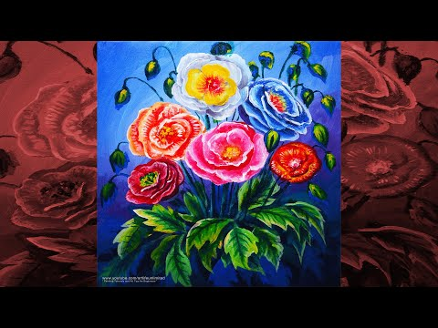 STILL LIFE PAINTING TUTORIAL Basic Beautiful and Colorful FLOWERS for BEGINNERS | ACRYLIC ART LESSON