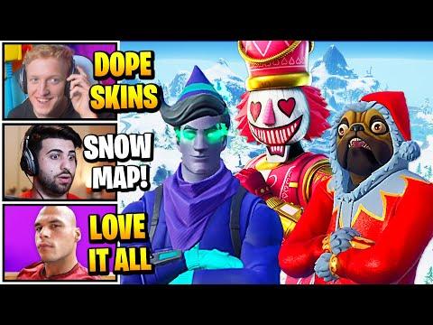Streamers React To *NEW* CHRISTMAS UPDATE (Codename Elf, Nutcracker & More Skin Styles) + SNOW MAP