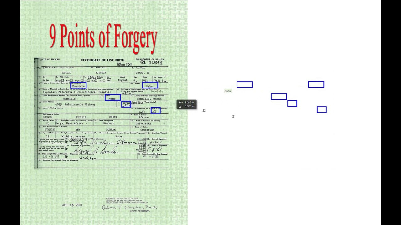 9 Points Of Forgery In Obamas Birth Certificate Youtube