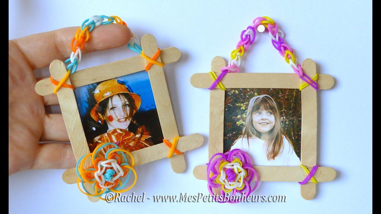 Cadre fleur et chainette au crochet en lastiques rainbow - Idee cadre photo a faire soi meme ...