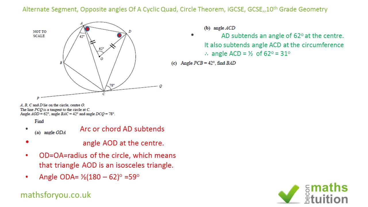 worksheet 10th Grade Geometry alternate segment theorem opposite angles cyclic quad circle igcse 10th grade geometry youtube