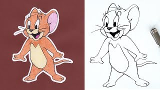 HOW TO DRAW Jerry - Tom & Jerry - Step By Step Tutorial For Beginners - DeMoose Art