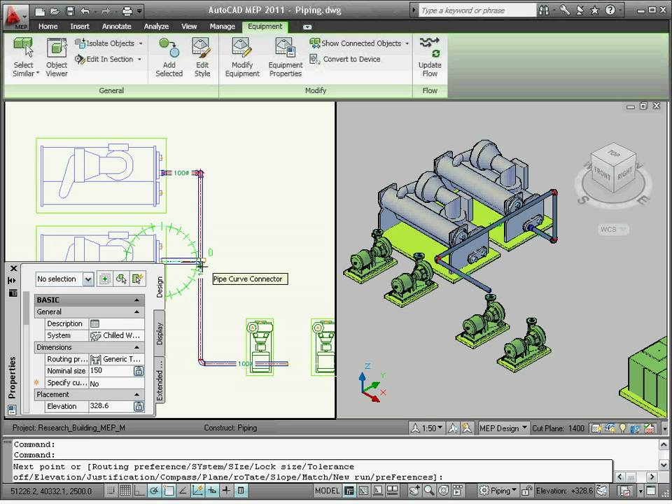 AutoCAD MEP 2011 Tutorial: How To Create Piping Systems