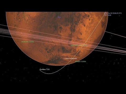 ExoMars arrival seen by Mars Express