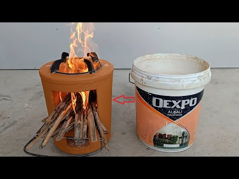 How to make wood stoves from old plastic barrels with cement and clay