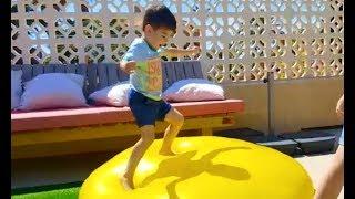 Jumping on the Giant Water Balloon * Kids Summer Fun