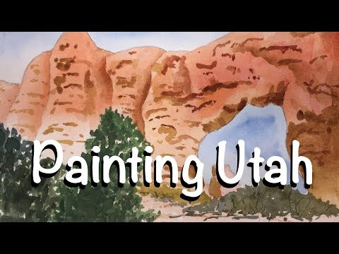 How to Paint Utah Red Rock Desert in Watercolor tutorial watercolour arch arches