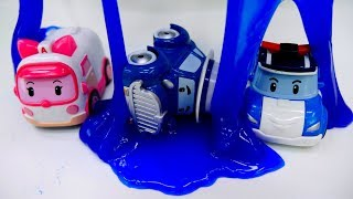 Robocar Poli toys & kinetic sand surprises - Cars and slime.