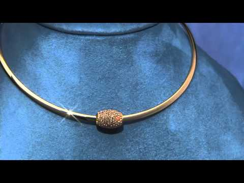 Stainless Steel Neck Collar w/ Removable Crystal Slider on QVC