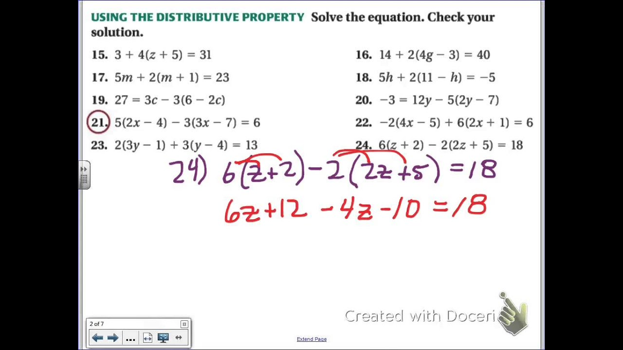 Common Core Math Solving Multi Step Equations With Distributive Property