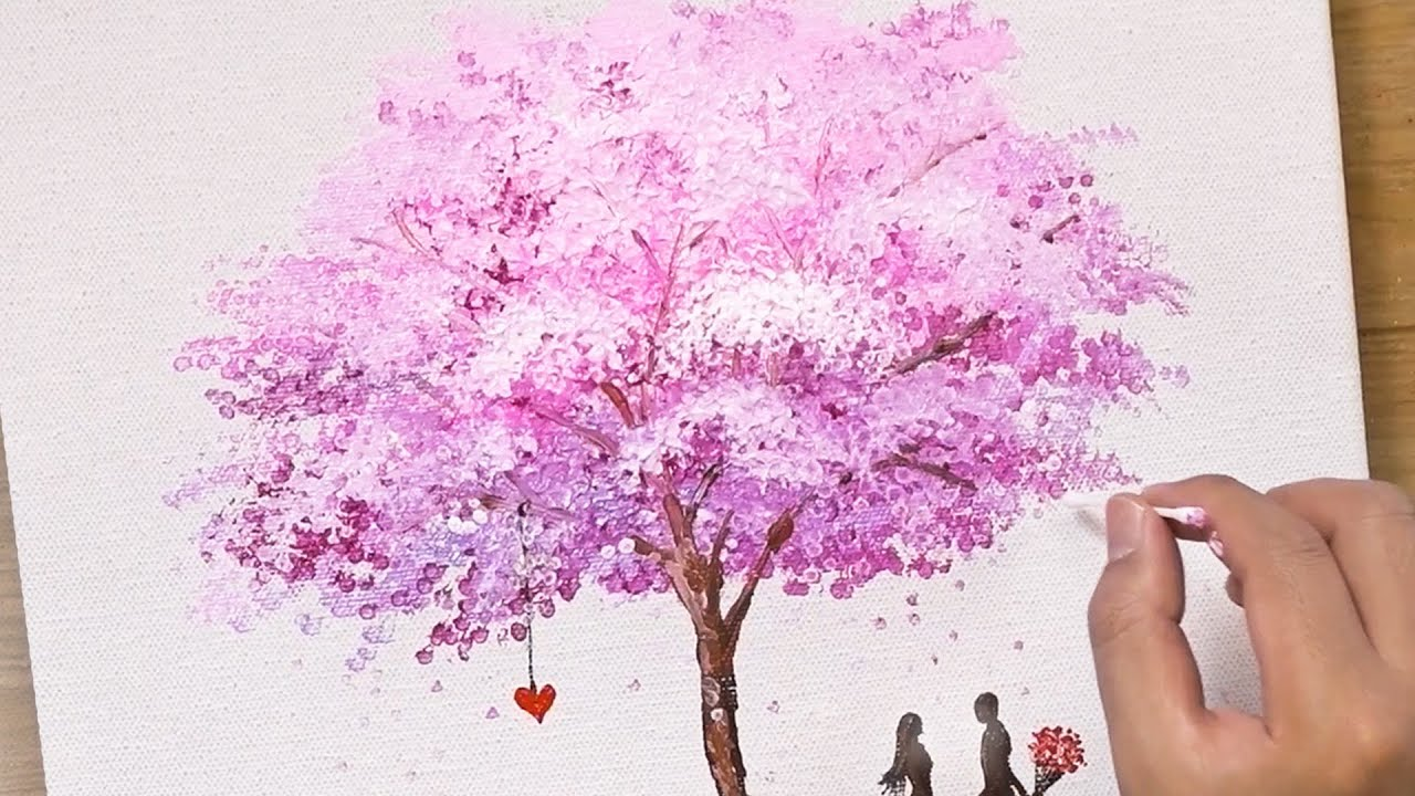 Painting A Pink Cherry Blossom Tree Cotton Swabs Painting Technique 441 Cherry Blossom Painting Tree Painting Easy Tree Painting Canvas
