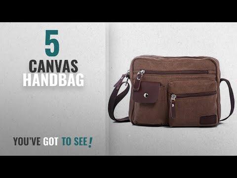 Top 10 Canvas Handbag [2018]: Hengwin Multi Pockets Medium Canvas Shoulder Cross Body Bag Messenger