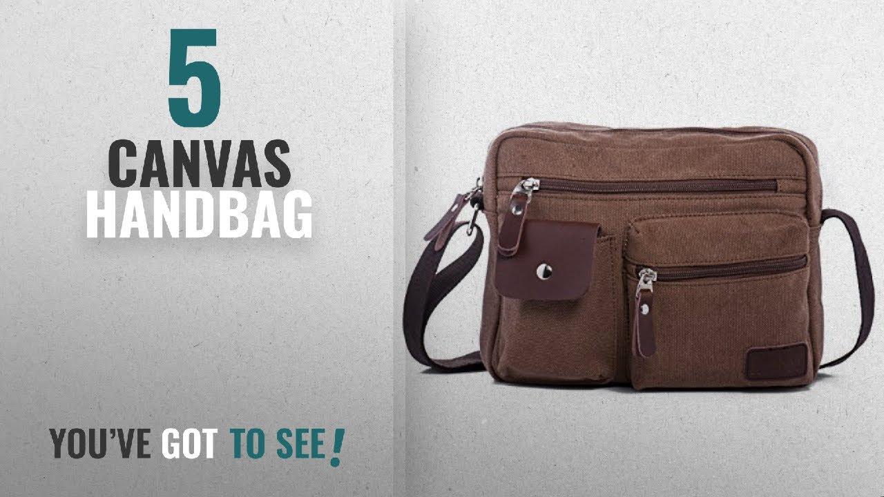 aadcfb93bd Top 10 Canvas Handbag  2018   Hengwin Multi Pockets Medium Canvas Shoulder  Cross Body Bag Messenger