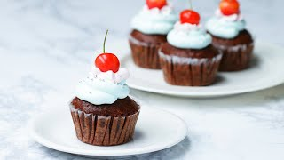 さくらんぼのチョコチップマフィン〜カラフルクリームで可愛いマフィン♪〜 / Chocolate Cherry Cupcakes