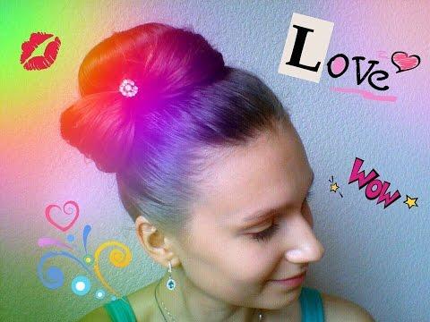 Элегантная прическа Шишка с бантиком | DIY | Elegant hairstyle tutorial Lump with a bow