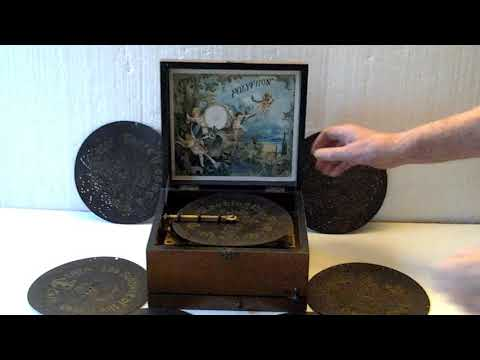 POLYPHON  DISC PLAYING MUSIC BOX, No.146688, c.1800s + 15 discs