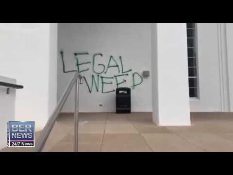 Graffiti At City Hall in Hamilton, January 14 2020