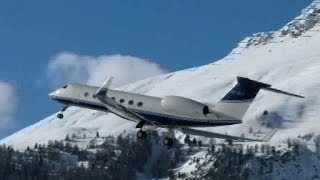 Gulfstream G-550 awesome valley landing & take-off @ Samedan - 22/01/2014