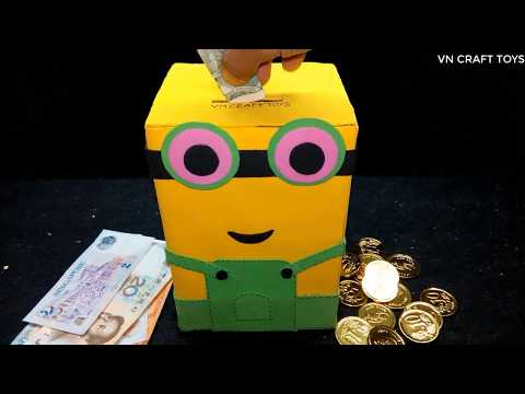 How to make a MINION PIGGY BANK from cardboard
