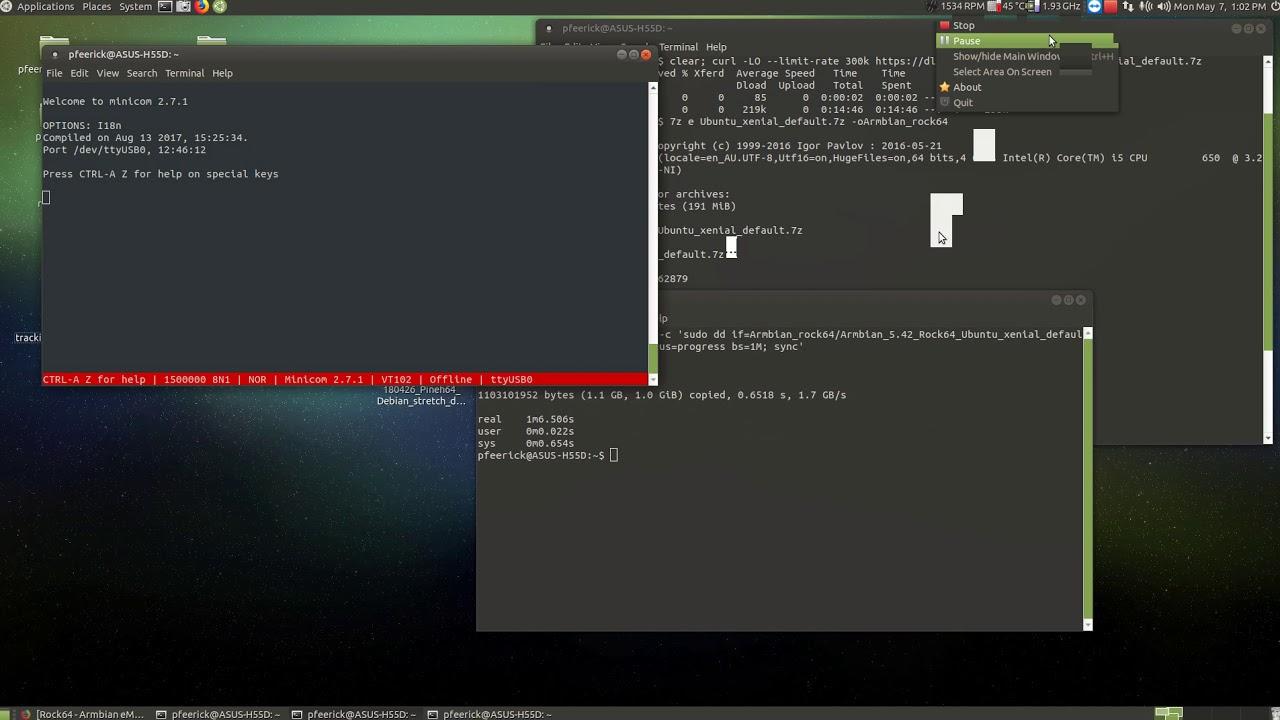 Writing Armbian rock64 image to eMMC using dd