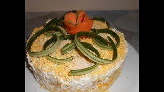 """Салат слоёный с курицей и ананасом: """" Желание гостей """""""