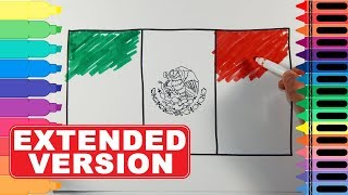 How to Draw Mexico Flag EXTENDED version - Coloring Pages for Kids | Tanimated Toys