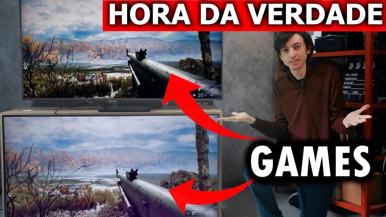TV de ENTRADA vs TOP DE LINHA para GAMES! Tem muita diferença? Testamos!