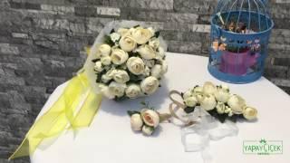 Gelin Buketi Şakayık Güller Kırık Beyaz 3lü Set