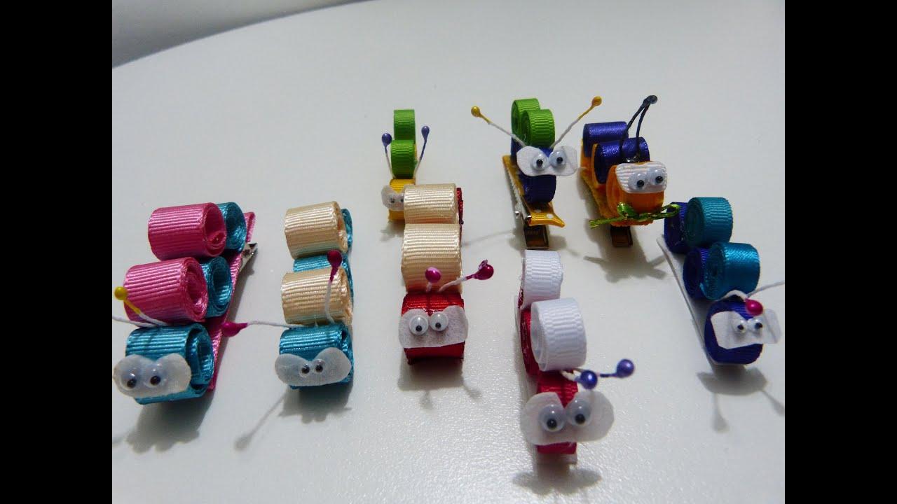 Lindas figuras miniatura gusanitos en cinta delgada gross o raso para clips del cabello youtube - Material para hacer diademas ...