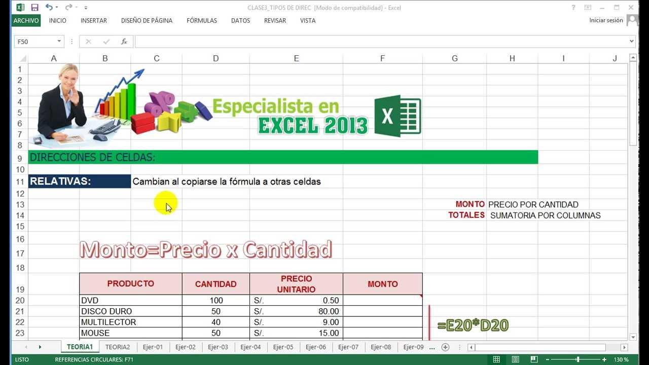 Tutorial de Excel 2013 - Direcciones de Celda - YouTube