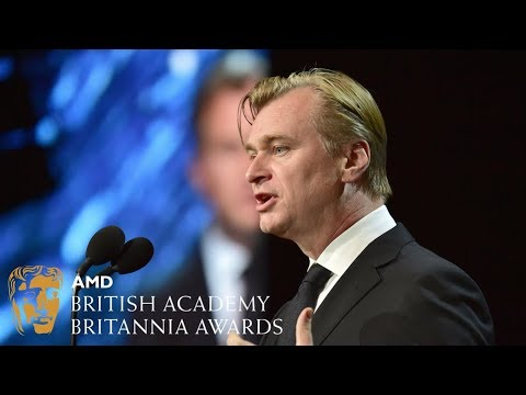 Christopher Nolan presents to Kenneth Branagh at the Britannia Awards