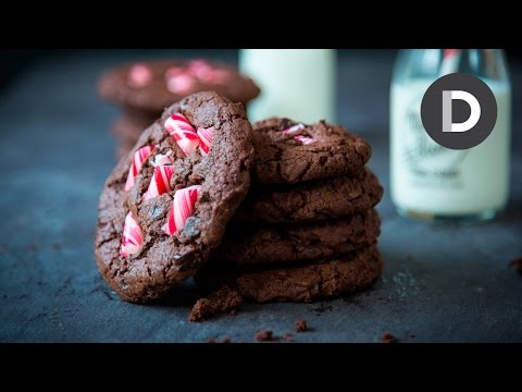 Double Chocolate Candy Cane Cookies Recipe!