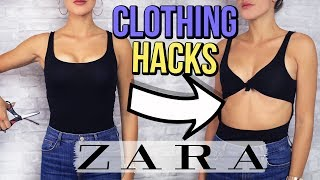 ZARA CLOTHING HACKS !! How To Turn Old Clothes Into New Clothes (+SUMMER GIVEAWAY)