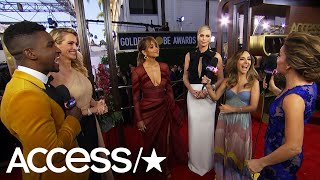 Halle Berry & Julia Roberts Crash Charlize Theron's 2019 Golden Globes Interview! | Access