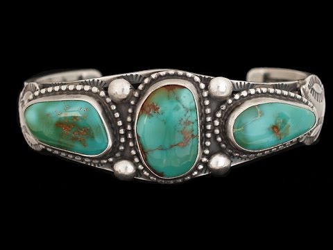 Navajo Sterling Silver 3 Royston Turquoise Stone Bracelet By Verdy Jake (#42)