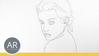 Gesichter zeichnen lernen mit einer Linie. Strich-Porträt zeichnen. Mappenkurs Kommunikationsdesign