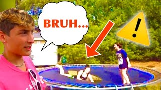 REACTING TO BAD TRAMPOLINE PARKOUR FAILS