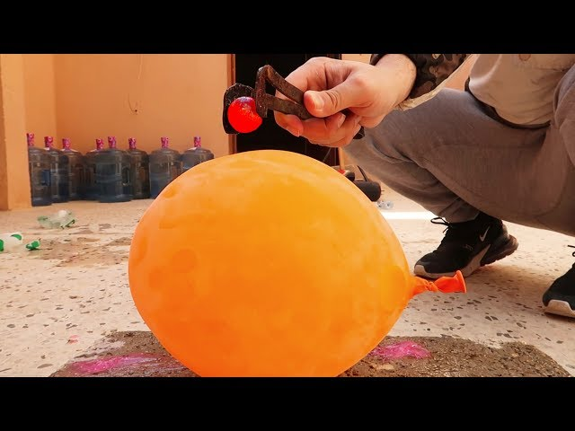 تجربة كرة نارية ضد بالونة المثلجة!!