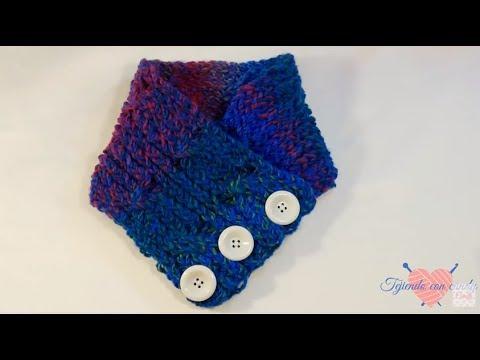 Bufanda de cuello tejida con telar en punto cable/knitting loom cowl scarf/ neck scarf