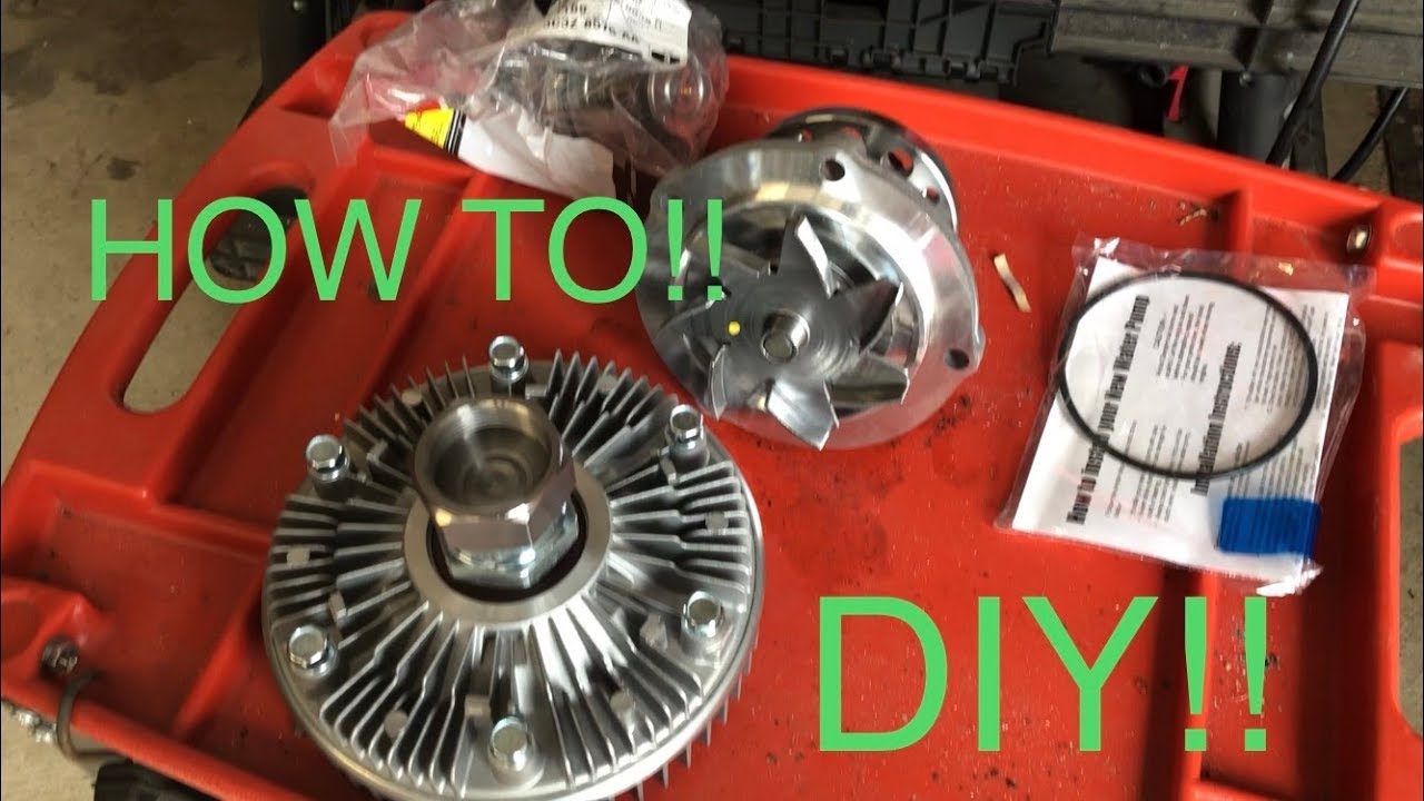 HOW TO: 6 0 WATER PUMP AND 7 3 FAN CLUTCH CONVERSION!!