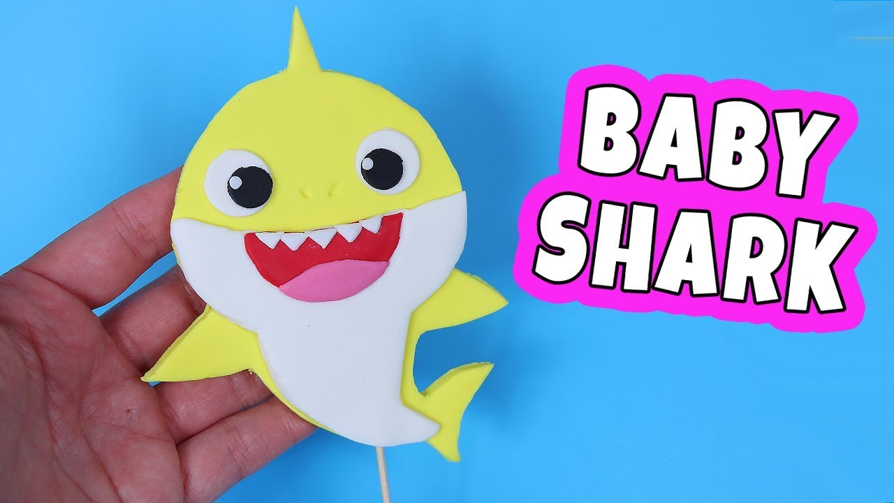 How To Make Baby Shark Fondant Cake Topper Baby Shark Cake Youtube