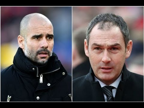 Pep Guardiola and Paul Clement Reaction after Swansea City 0-4 Manchester City